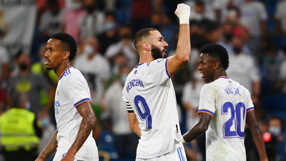 Karim Benzema (Real) célèbre son troisième but face au Celta