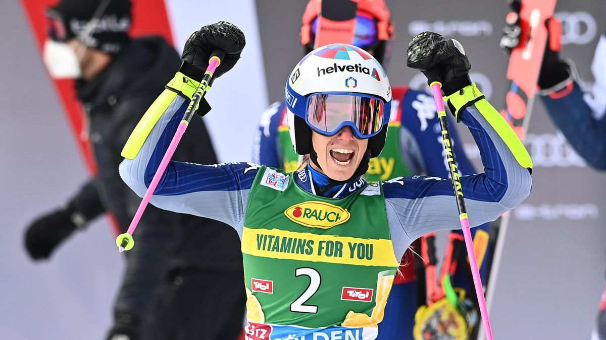 Italian Marta Bassino celebrates after winning the women's giant slalom event during the FIS Alpine Ski World Cup in Soelden, Austria, on October 17, 2020