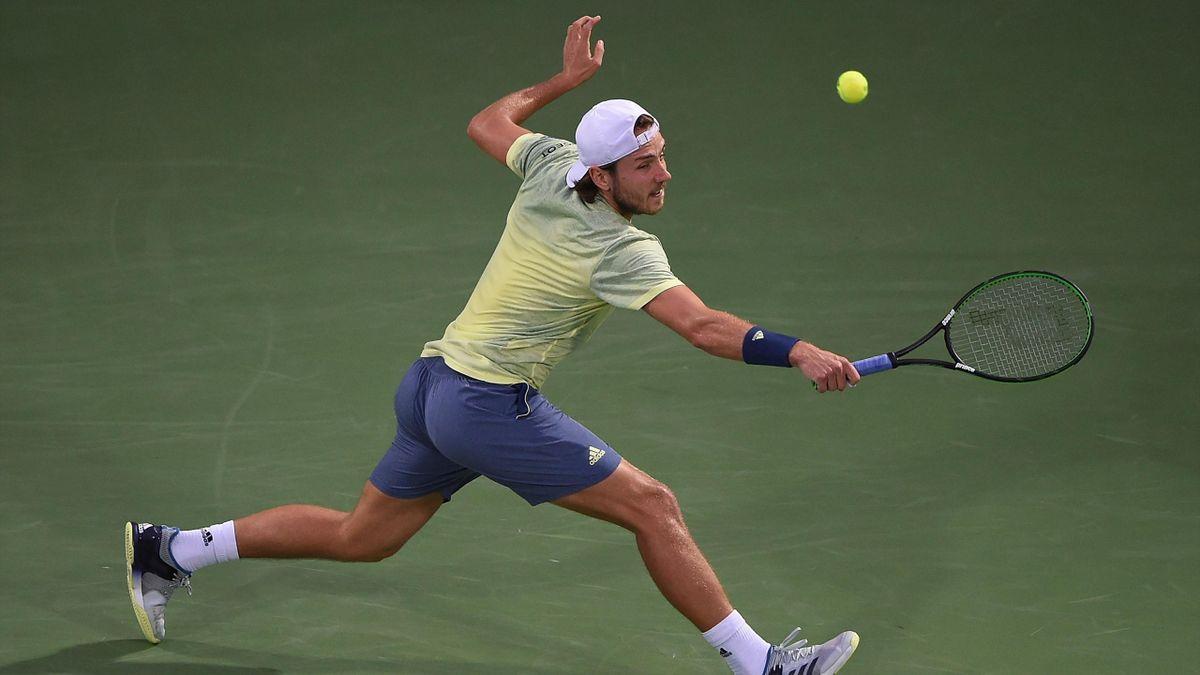 Lucas Pouille lors du tournoi de Dubaï 2018