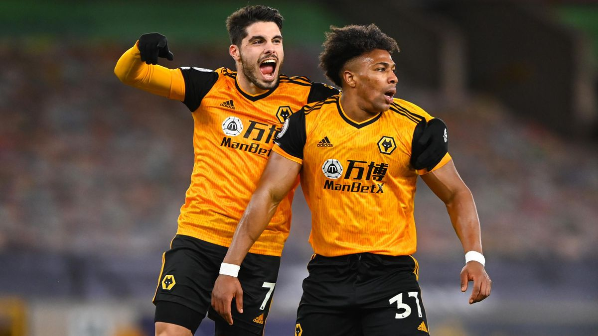 Pedro Neto of Wolverhampton Wanderers celebrates after scoring a goal to make it 1-0 after an own goal by goalkeeper Illan Meslier of Leeds United