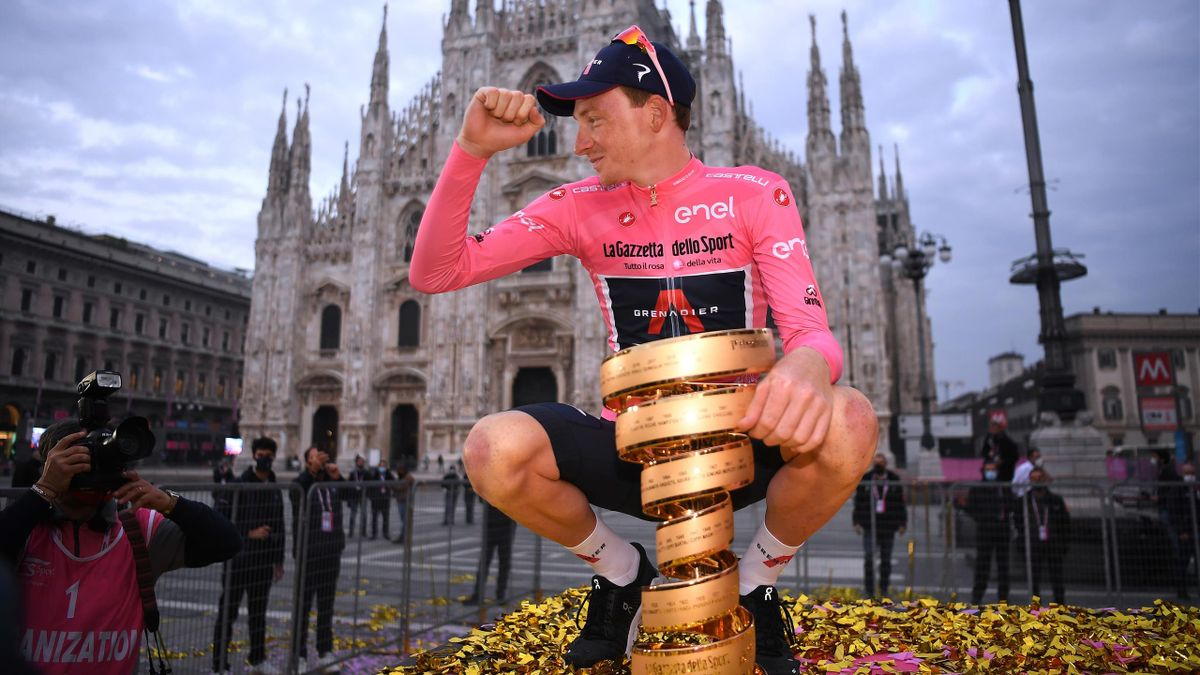 Tao Geoghegan Hart of The United Kingdom and Team INEOS Grenadiers Pink Leader Jersey / Celebration / Trofeo Senza Fine / Trophy / Duomo di Milano / Milan Cathedral / during the 103rd Giro d'Italia 2020