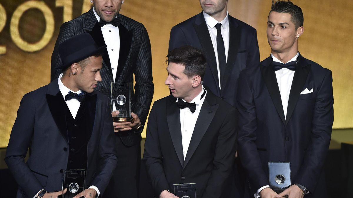 Neymar, Messi y Cristiano Ronaldo en la gala del Balón de Oro
