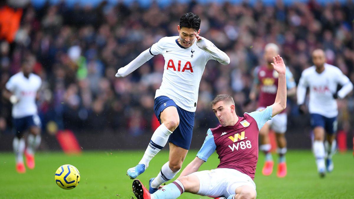 Heung-Min Son (Tottenham) face à Bjorn Engels (Aston Villa) en Premier League le 16 février 2020