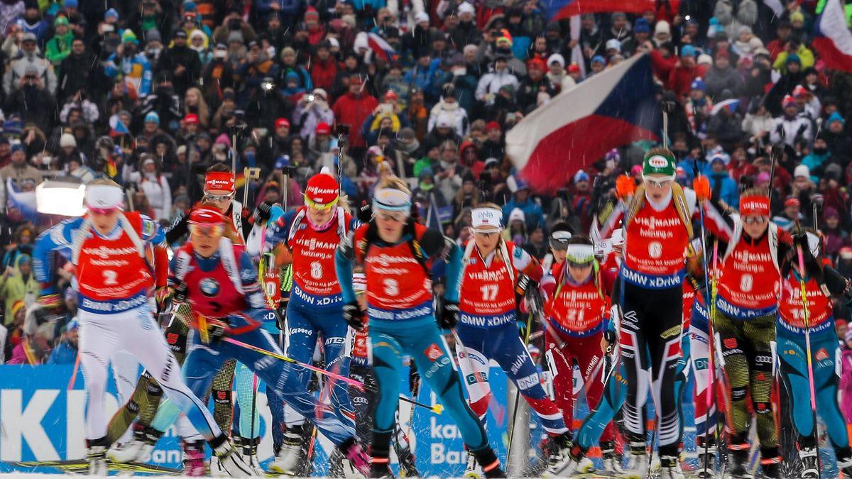 Mass start during the IBU Biathlon World Cup Men's and Women's Mass Start on December 18, 2016 in Nove Mesto na Morave, Czech Republic