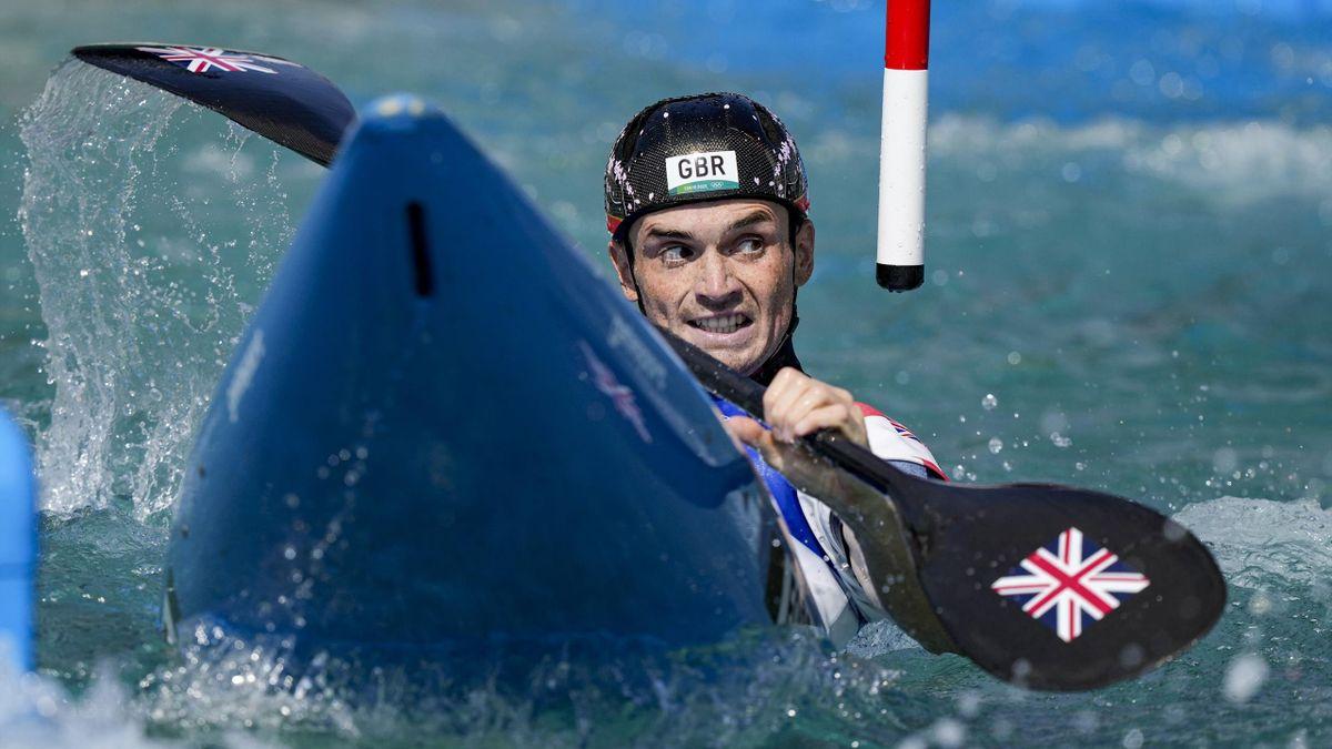 Bradley Forbes-Cryans in the kayak, Kasai Canoe Slalom Centre, Tokyo Olympics, July 28, 2021