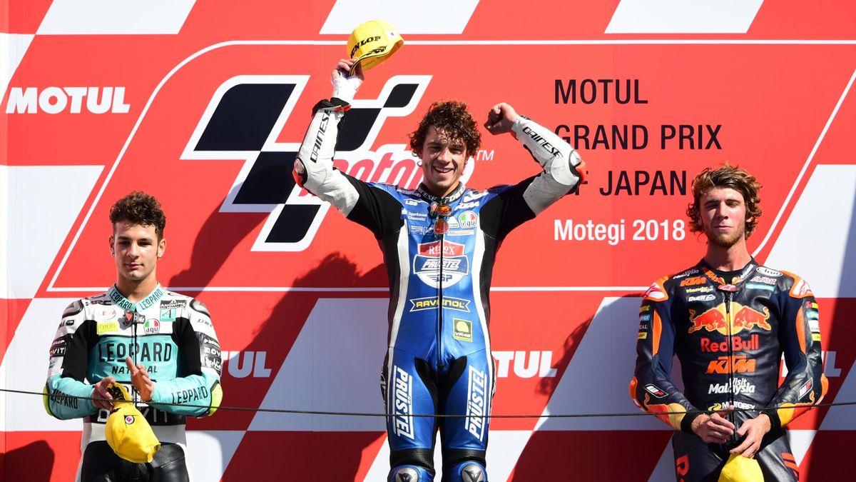 Marco Bezzecchi festeggia la vittoria a Motegi, Moto3, GP del Giappone, Getty Images