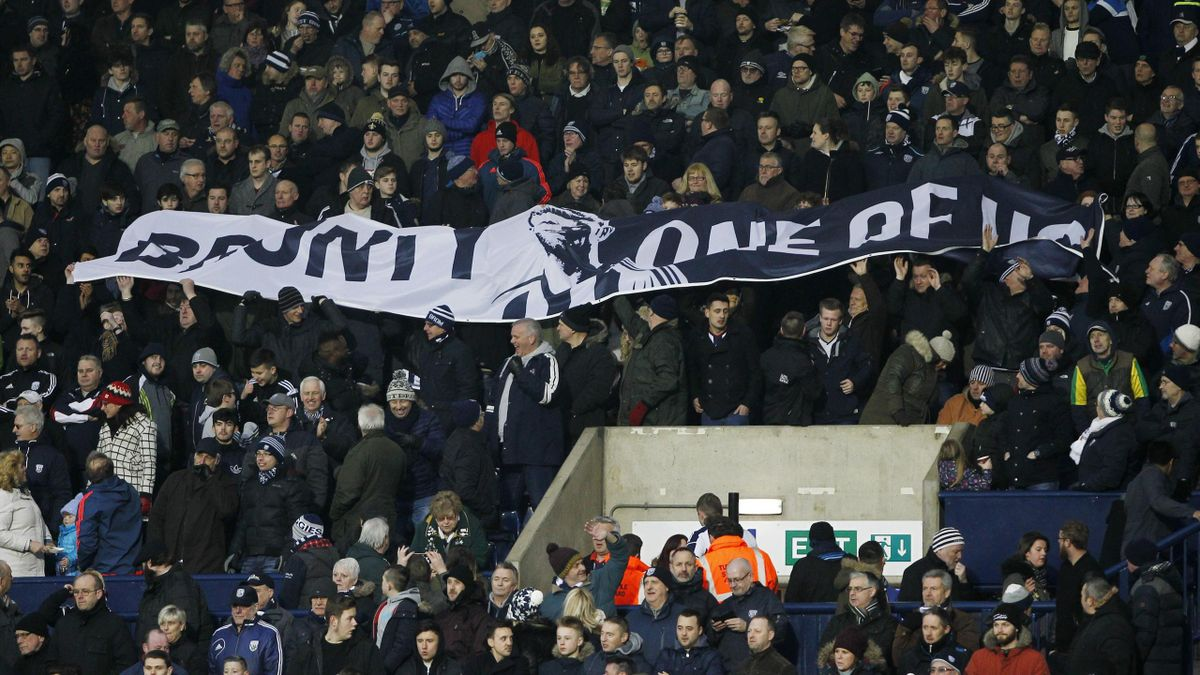 West Brom fans with a banner in reference to Chris Brunt