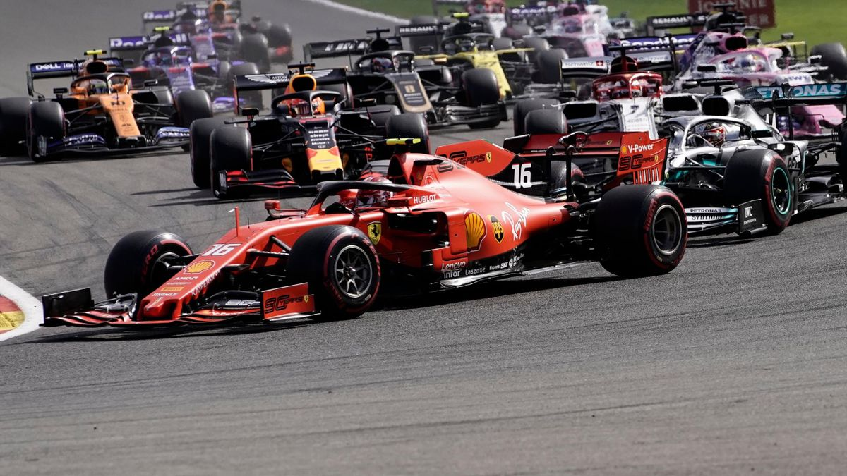 Ferrari's Monegasque driver Charles Leclerc takes the lead after the start of the Belgian Formula One Grand Prix at the Spa-Francorchamps circuit in Spa on September 1, 2019.