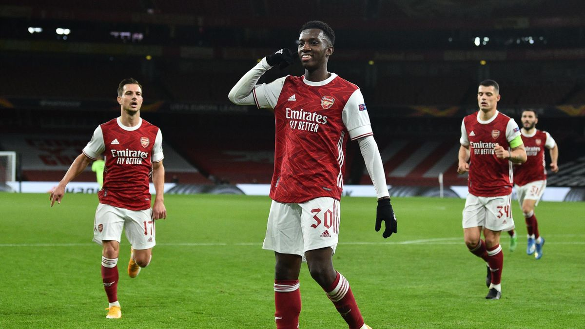 Arsenal's English striker Eddie Nketiah celebrates after scoring his team's first goal during the UEFA Europa League 1st round day 2 Group B football match between Arsenal and Dundalk at the Emirates Stadium