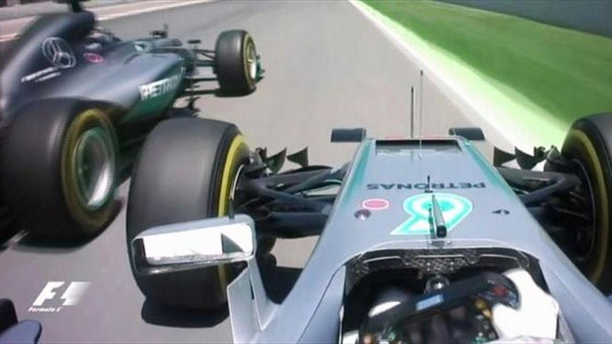 Lewis Hamilton collides with Nico Rosberg