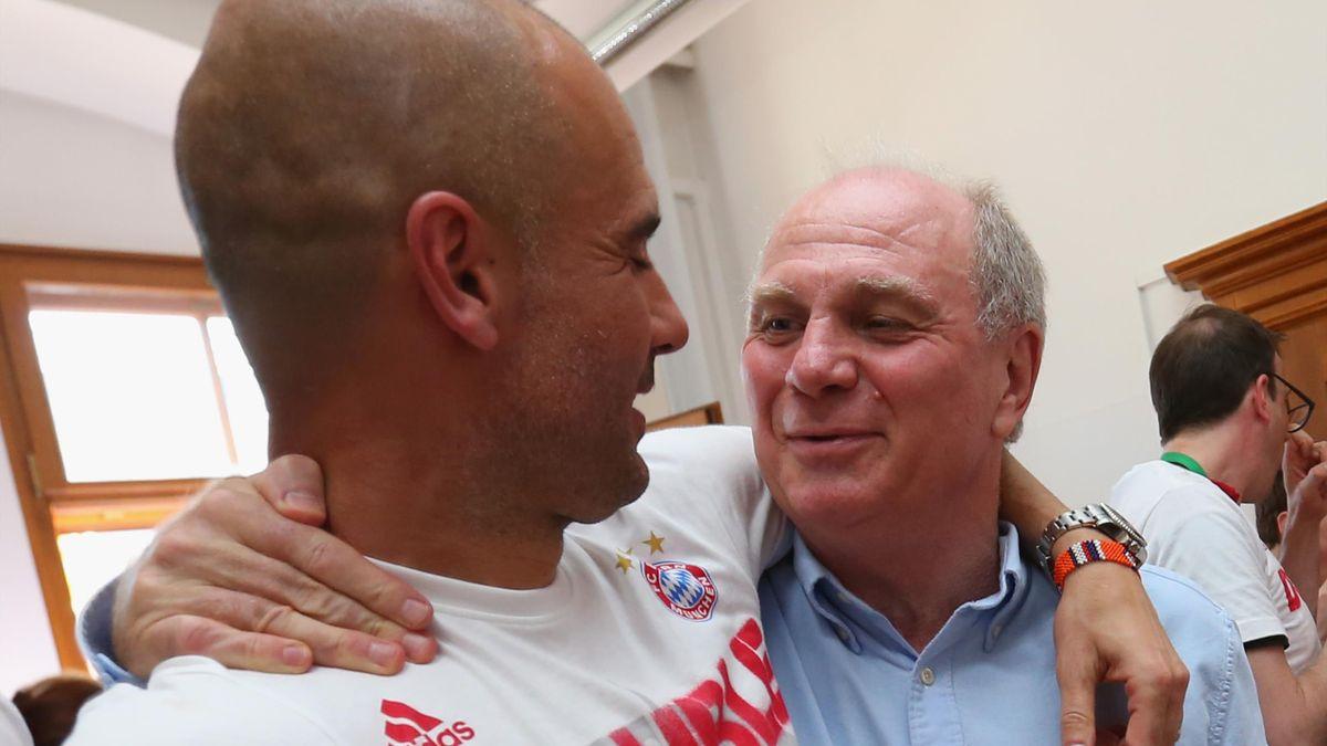 Gewannen zusammen mit dem FC Bayern drei Deutsche Meisterschaften: Uli Hoeneß (rechts) und Pep Guardiola