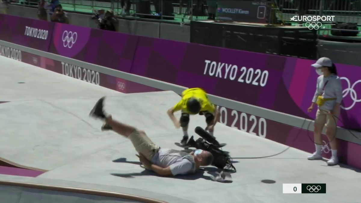 Ouch! Skateboarder wipes out cameraman in wild incident