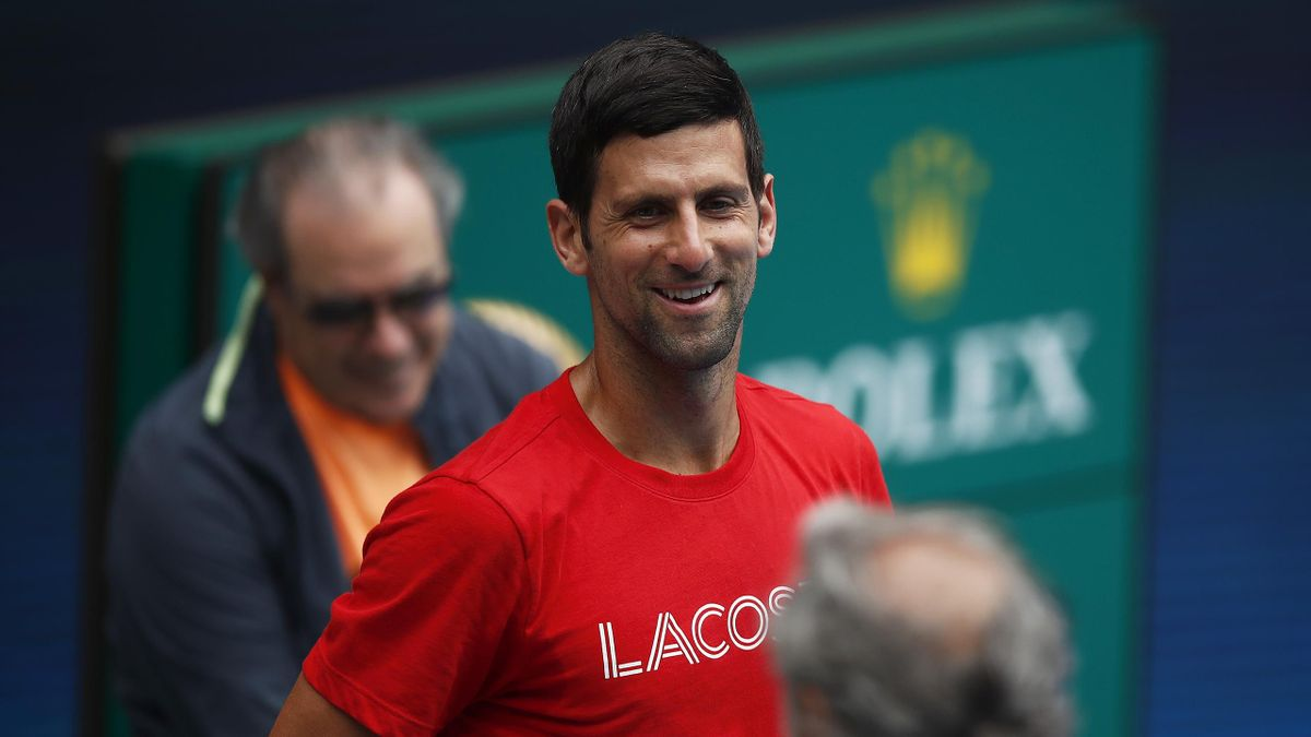 Novak Djokovic of Serbia reacts during a practice session at Melbourne Park on February 1, 2021 in Melbourne, Australia