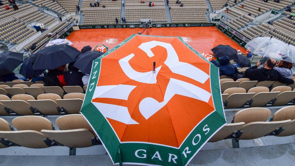 La pluie sur le Philippe-Chatrier à Roland-Garros