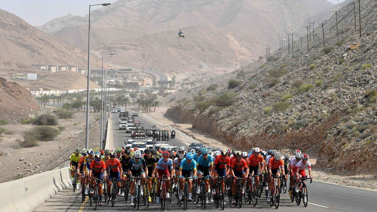 Peloton / Mountains / Landscape / during the 10th Tour of Oman 2019, Stage 6 a 135,5km stage to Al Mouj Muscat to Matrah Corniche / TOO2019 / @tourofoman / on February 21, 2019 in Matrah Corniche, Oman.