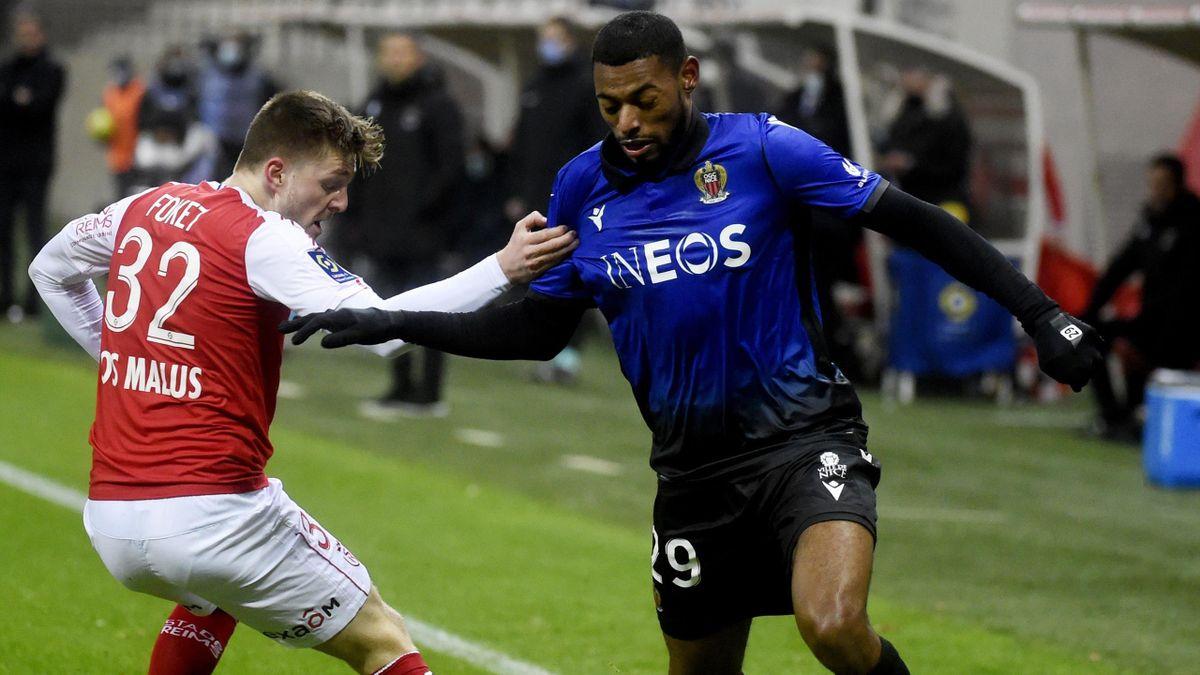 Jeff Reine-Adélaïde (Nice) face à Reims en Ligue 1 le dimanche 6 décembre 2020