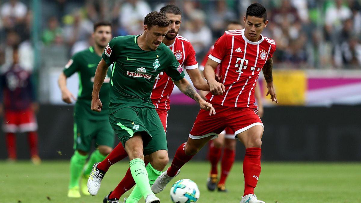 Max Kruese (Werder) face à James Rodriguez (Bayern)