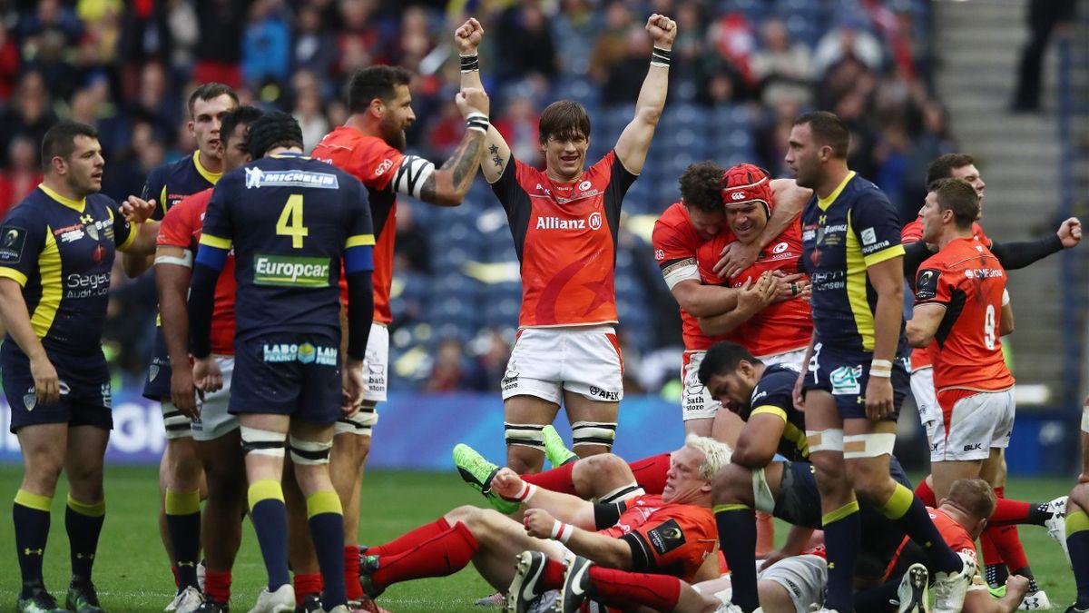 La joie des Saracens après leur victoire face à Clermont