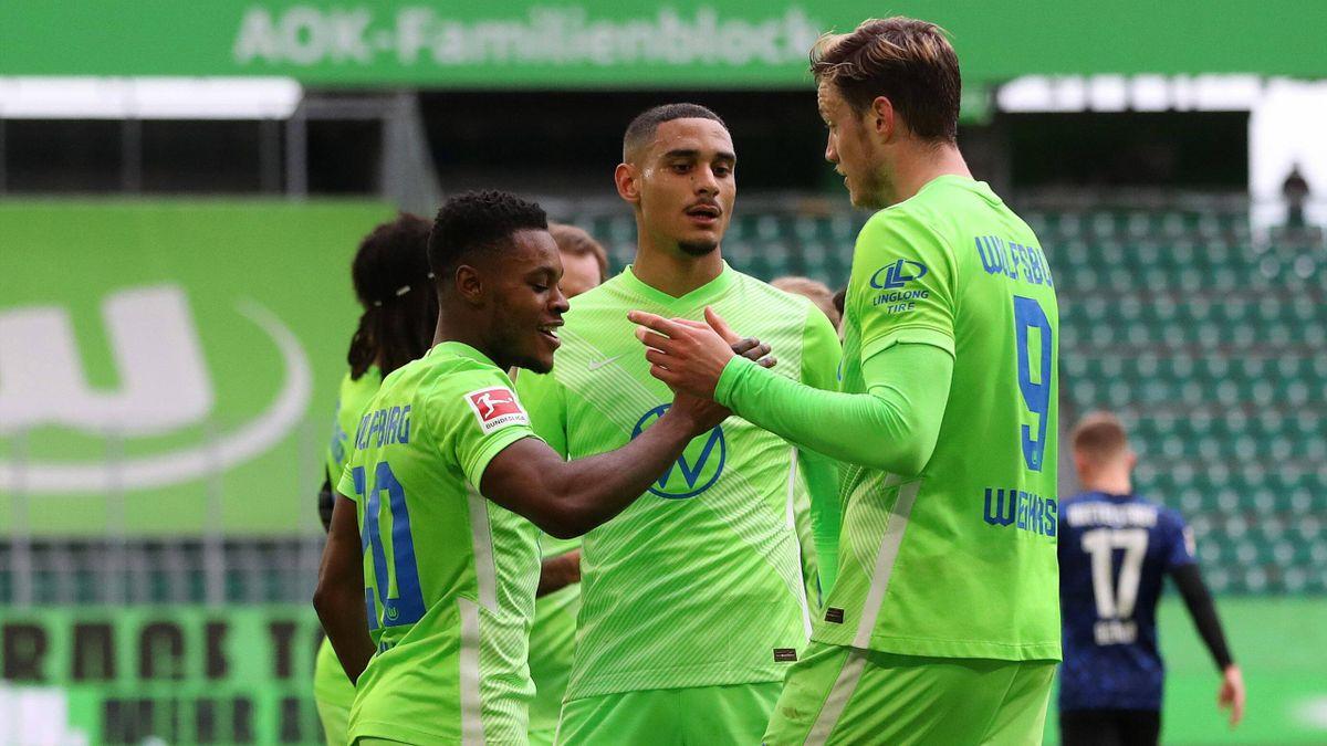 Jubel beim VfL Wolfsburg nach dem Heimsieg gegen Hertha BSC