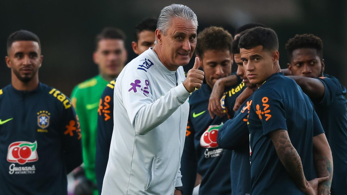 Head coach Tite gestures during a training session of the Brazilian national football team at the squad's Granja Comary training complex