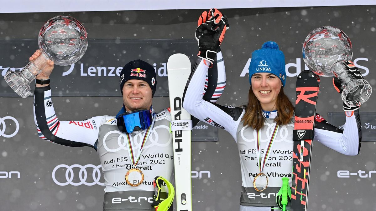 Alexis Pinturault of France takes 1st place in the overall standings during the Audi FIS Alpine Ski World Cup Men's, Petra Vlhova of Slovakia takes 1st place in the overall standings during the Audi FIS Alpine Ski World Cup Women's on March 21, 2021 in L