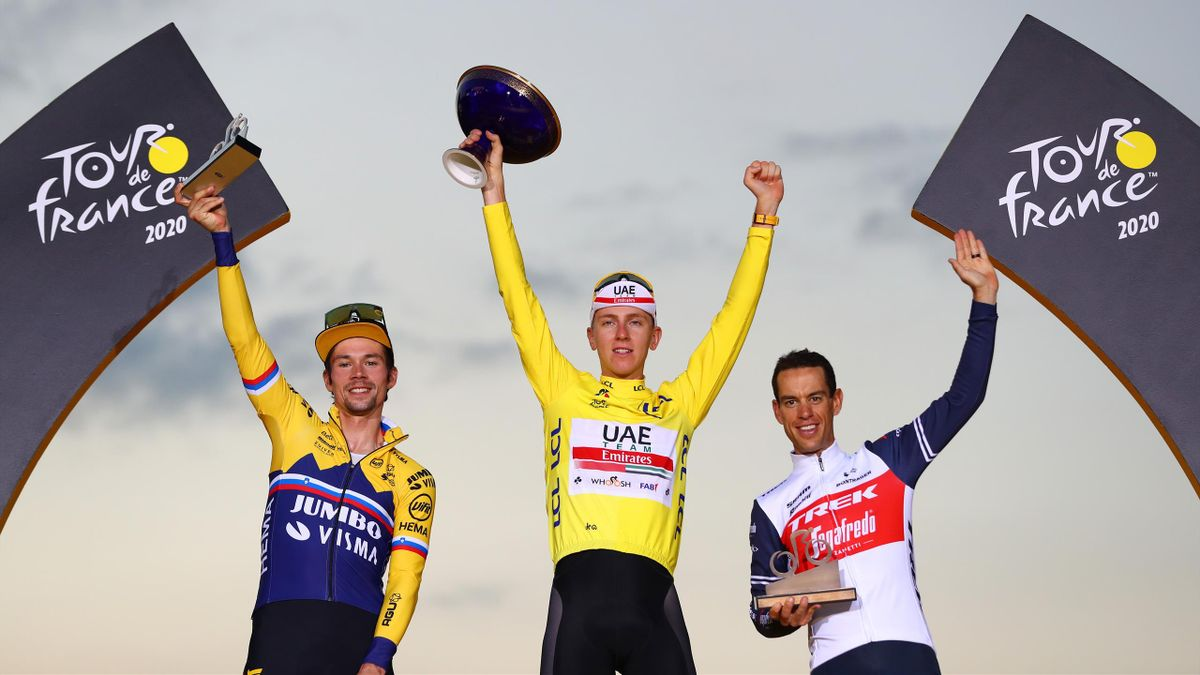 Primoz Roglic, Tadej Pogacar and Richie Porte on the podium of the Tour de France 2020