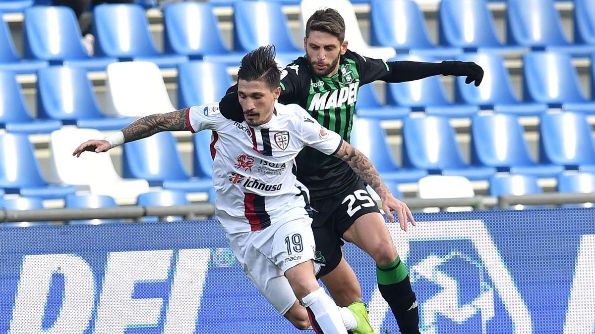 Fabio Pisacane e Domenico Berardi - Sassuolo-Cagliari Serie A 2018-19