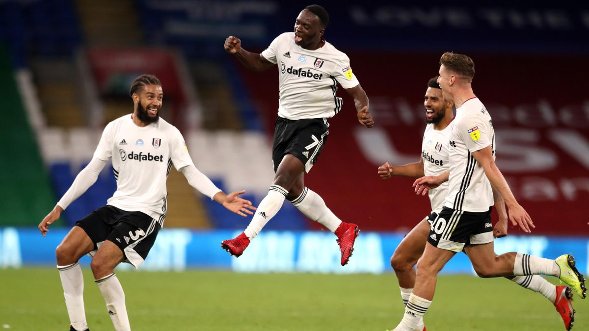 Neeskens Kebano of Fulham celebrates after he scores his sides second goal during the Sky Bet Championship Play Off Semi-final 1st Leg match between Cardiff City and Fulham at Cardiff City Stadium on July 27, 2020