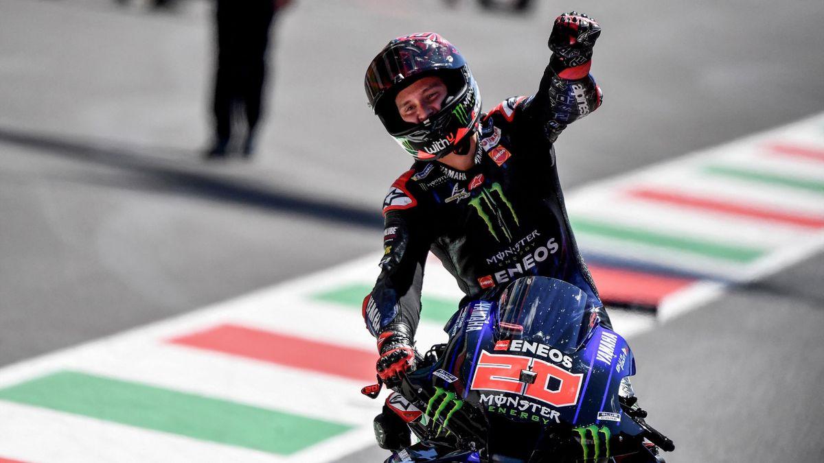 La joie de Fabio Quartararo, vainqueur du Grand Prix d'Italie de MotoGP, le 30 mai 2021 au Mugello.