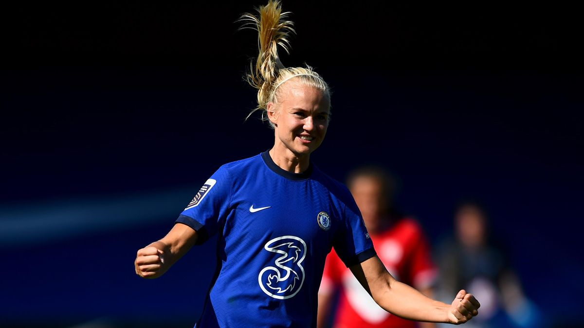 Pernille Harder celebrates her goal for Chelsea against Bristol City