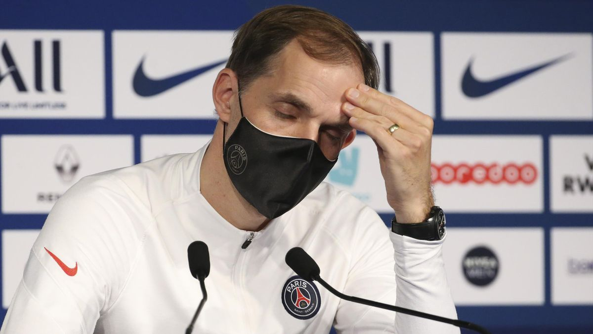 Thomas Tuchel, coach of PSG, during the post-match press conference following the Ligue 1 match between Paris Saint-Germain (PSG) and RC Strasbourg at Parc des Princes stadium on December 23, 2020 in Paris, France.
