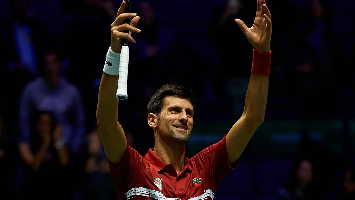 Novak Djokovic of Serbia celebrates the victory during his match against Benoit Paire of France during Day Four of the 2019 Davis Cup at La Caja Magica on November 21, 2019 in Madrid