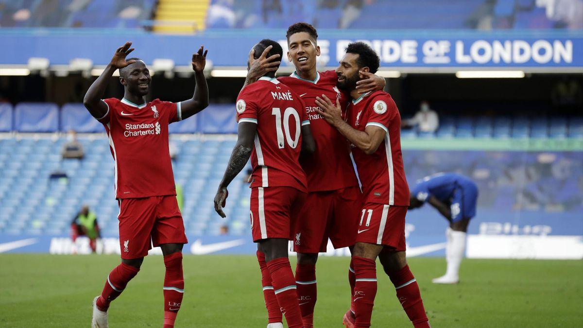 Sadio Mane of Liverpool celebrates with teammates