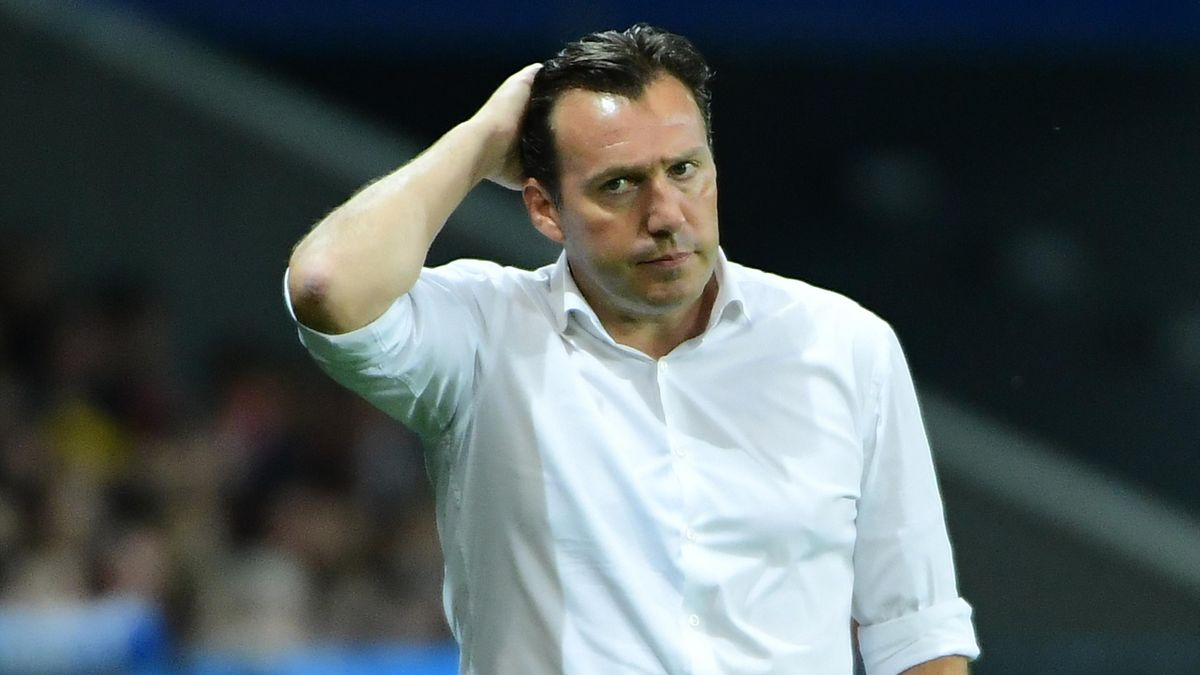 Belgium's coach Marc Wilmots reacts during the Euro 2016 quarter-final football match between Wales and Belgium at the Pierre-Mauroy stadium in Villeneuve-d'Ascq near Lille, on July 1, 2016