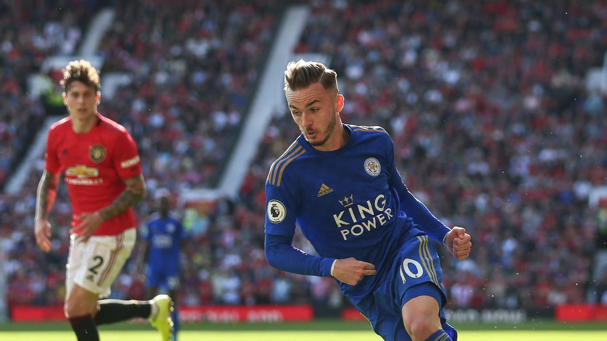 James Maddison of Leicester City during the Premier League match between Manchester United and Leicester City at Old Trafford on September 14, 2019 in Manchester, United Kingdom.