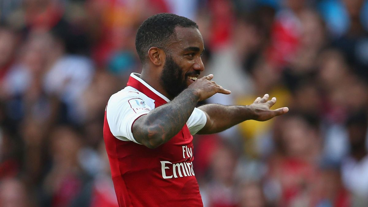 Alexandre Lacazette of Arsenal celebrates scoring a goal during the Emirates Cup match between Arsenal and Sevilla