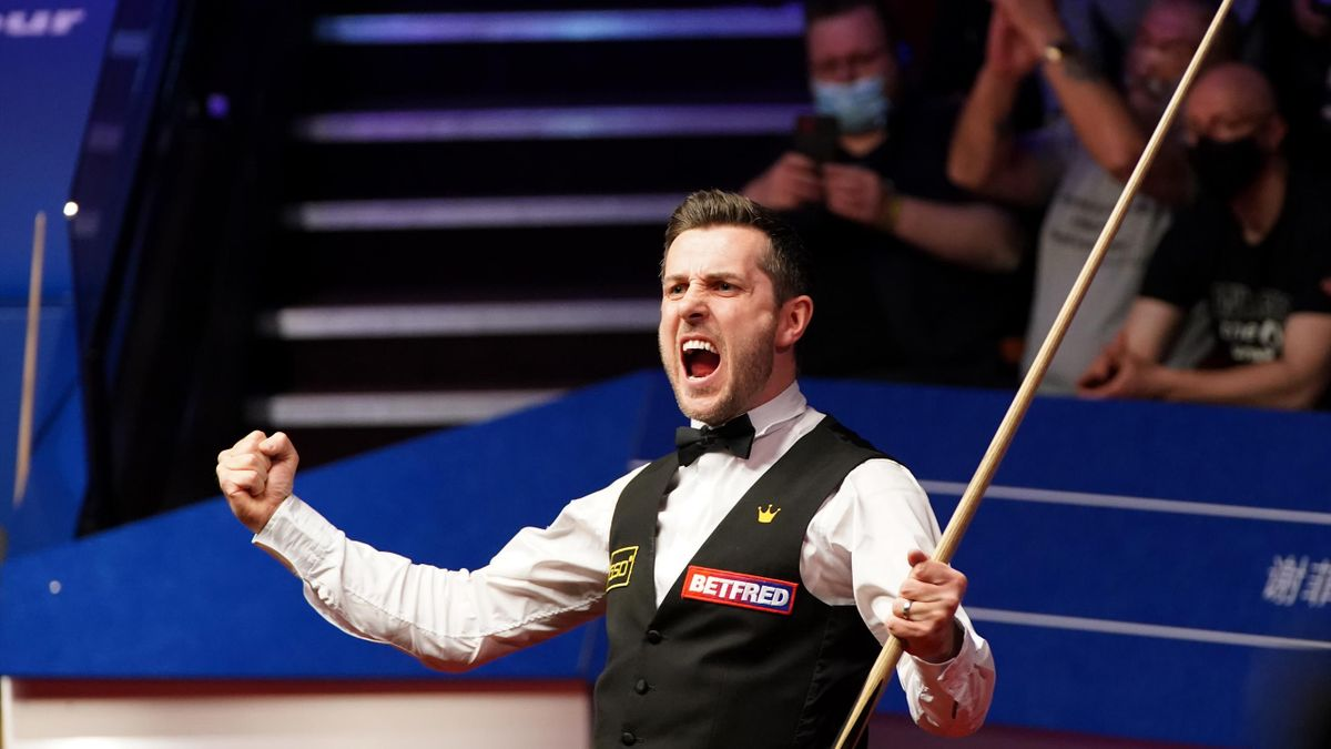 Mark Selby of England celebrates victory during the Final between Shaun Murphy and Mark Selby on day seventeen of the Betfred World Snooker Championship at the Crucible Theatre on May 3, 2021 in Sheffield, England.