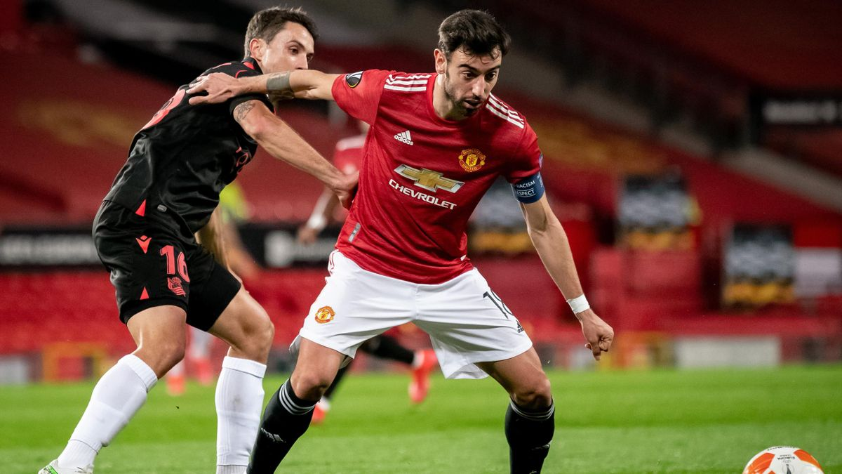 Bruno Fernandes (r.) von Manchester United