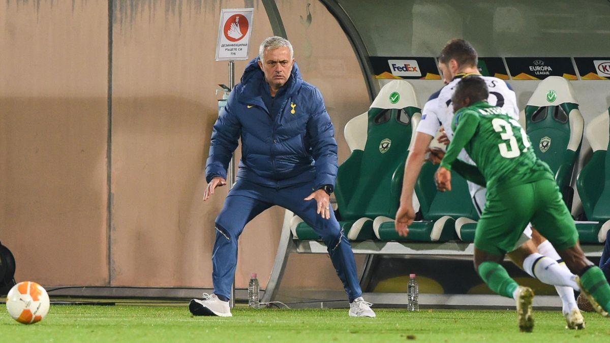 Tottenham's Head coach José Mourinho reacts during the UEFA Europe League group stage football match between Ludogorets Razgrad and Tottenham Hotspur
