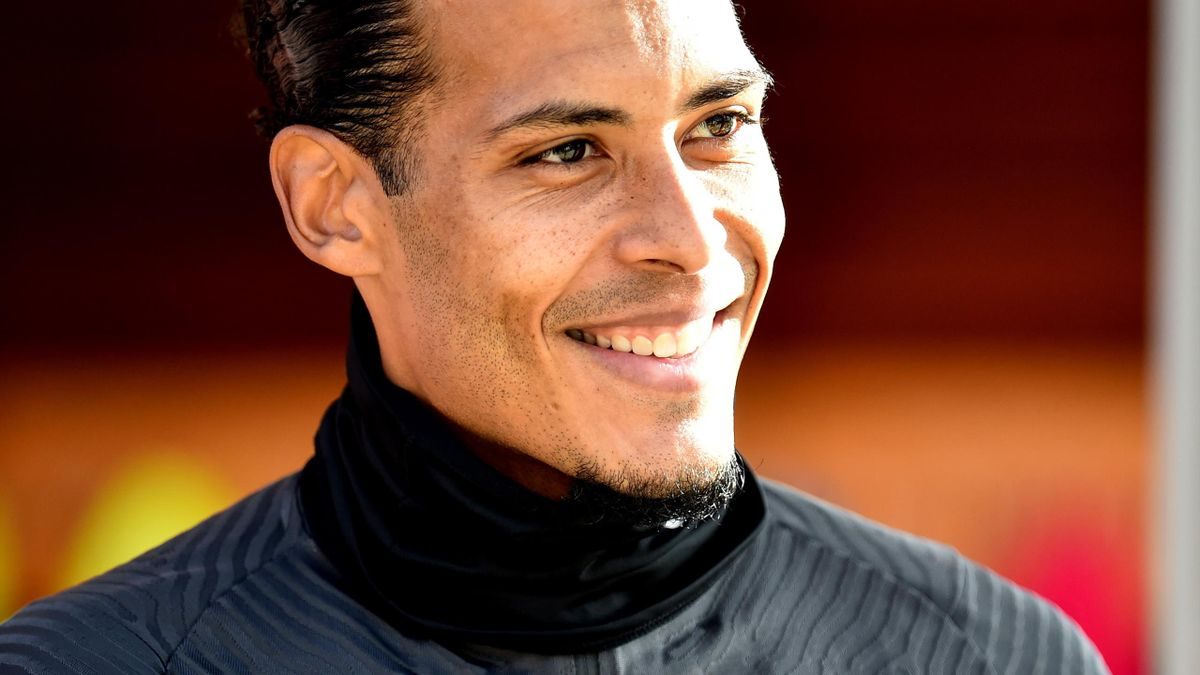 Virgil van Dijk of Liverpool during a training session at Melwood Training Ground on October 15, 2020 in Liverpool, England