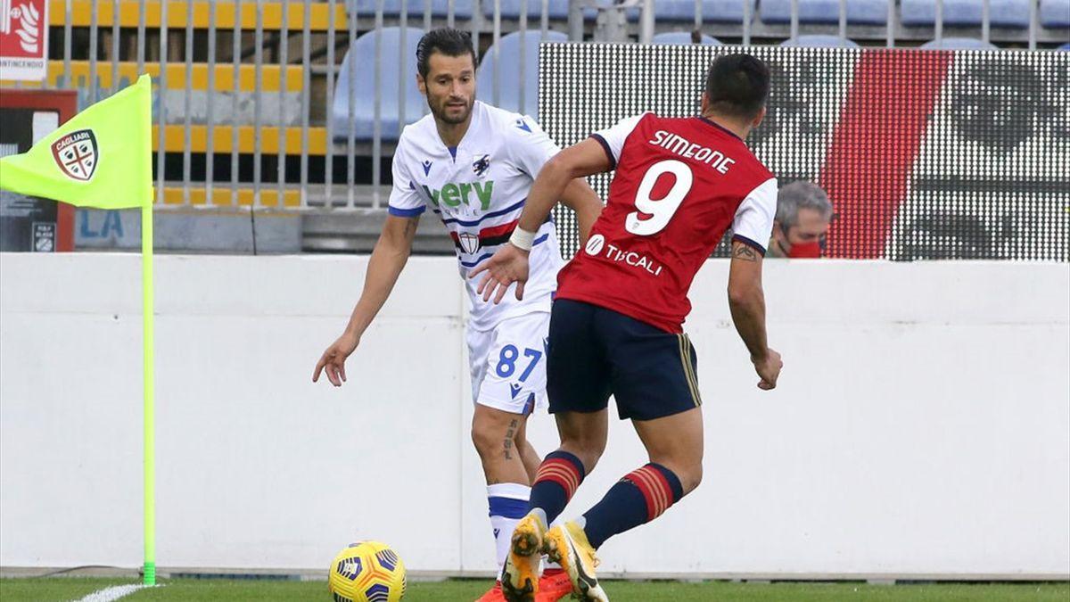 Antonio Candreva e Giovanni Simeone - Cagliari-Sampdoria Serie A 2020-21
