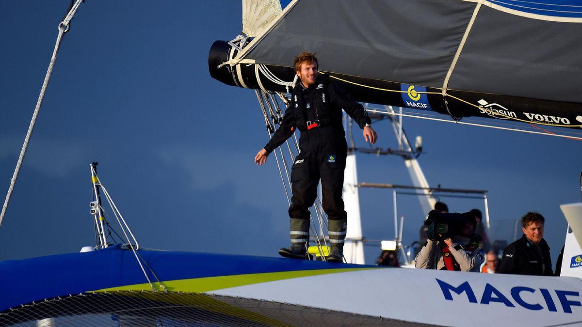 François Gabart à l'issue de son record du tour du monde en solitaire