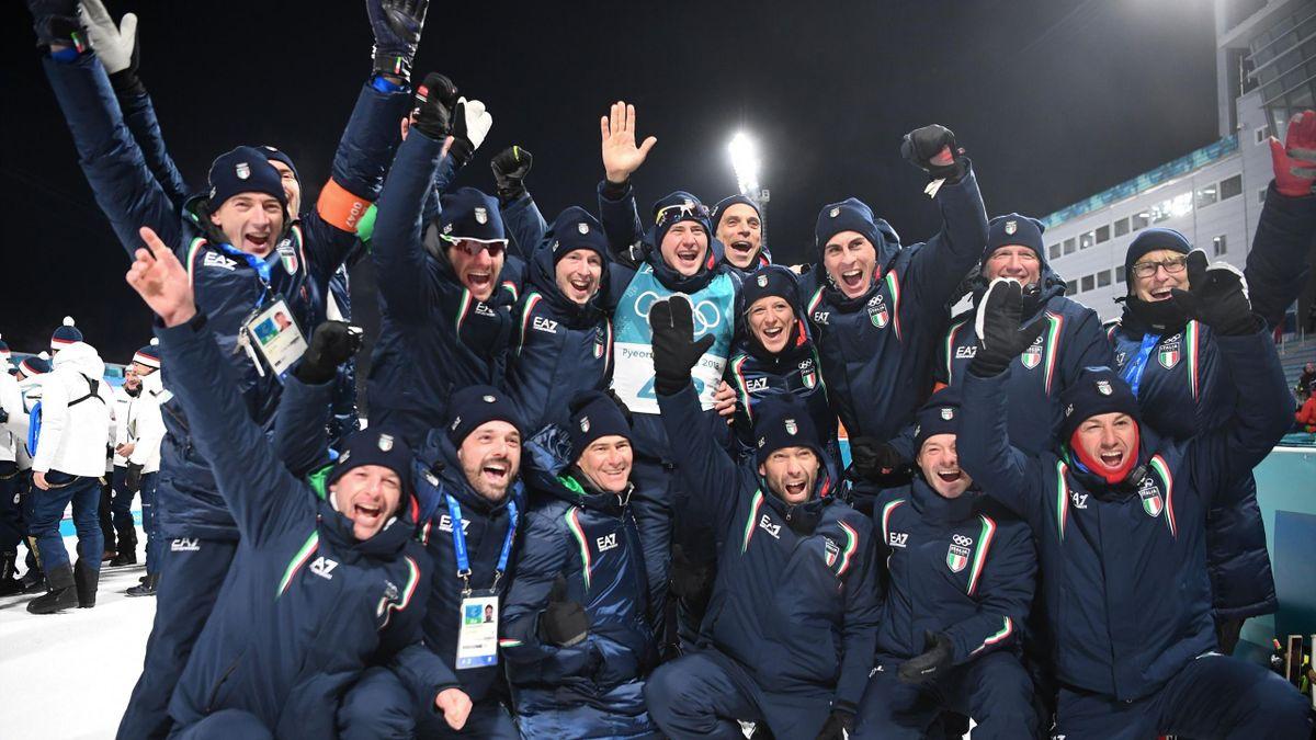 Dominik Windisch festeggia il bronzo con il team Italia del Biathlon, Getty Images
