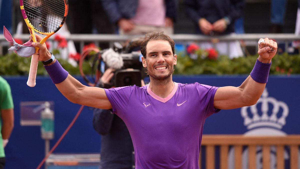 Rafa Nadal celebra el pase a la final del ATP Barcelona