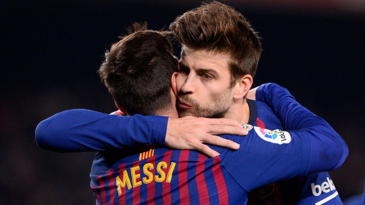 Lionel Messi and Gerard Pique