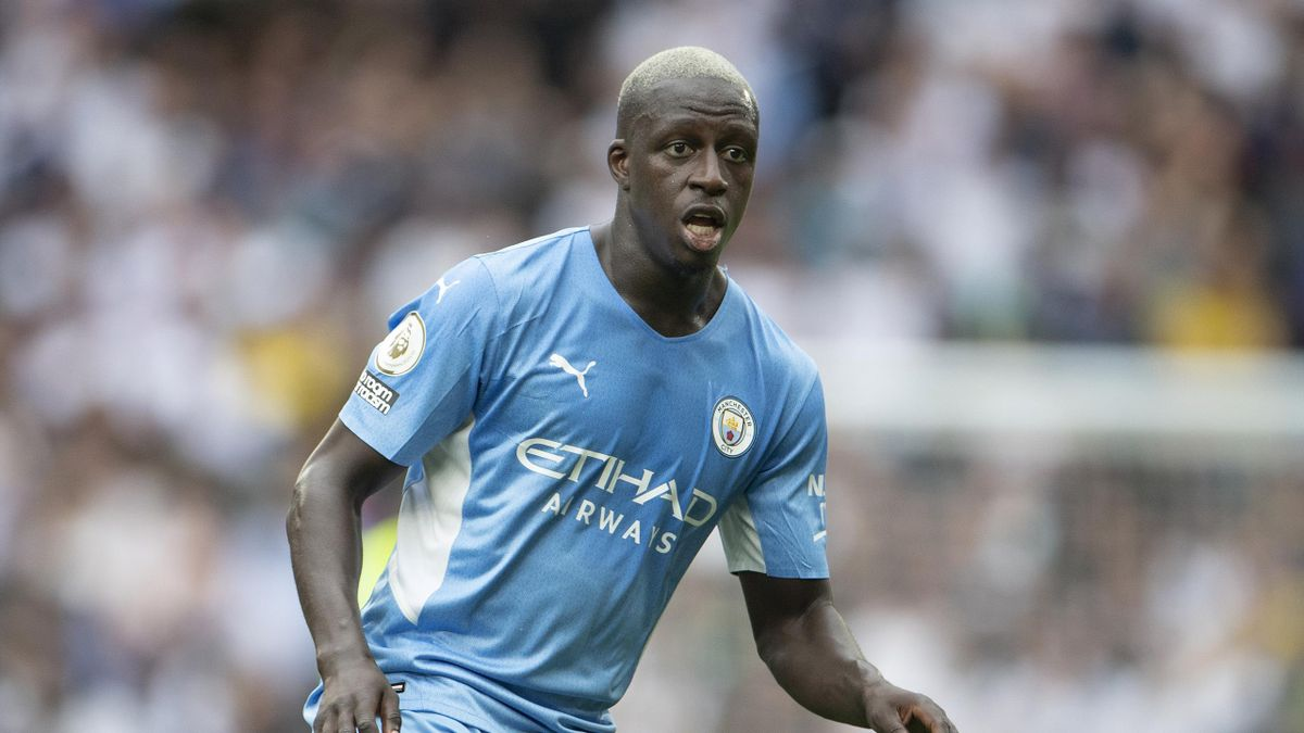 Benjamin Mendy of Manchester City during the Premier League match between Tottenham Hotspur and Manchester City at Tottenham Hotspur Stadium on August 15, 2021 in London, England