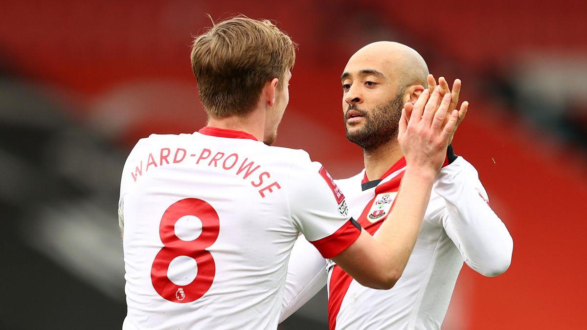 Nathan Redmond of Southampton celebrates with James Ward-Prowse