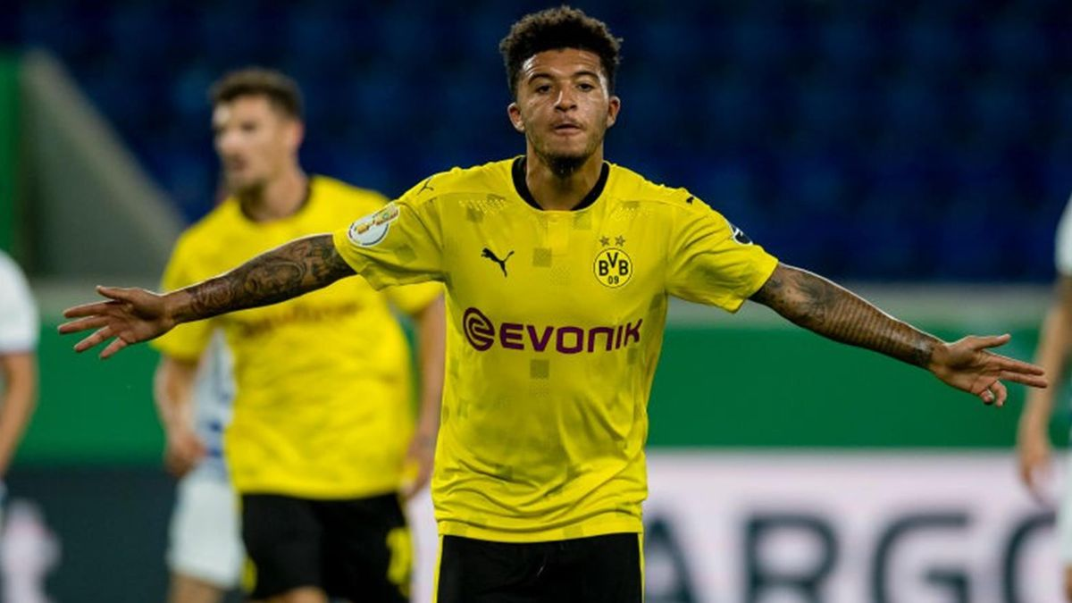 Jadon Sancho celebrates scoring for Borussia Dortmund against Duisburg