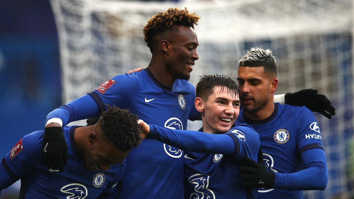 Tammy Abraham of Chelsea celebrates after scoring his third goal