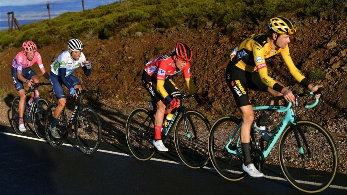 Lennard Hofstede of The Netherlands and Team Jumbo - Visma / Primoz Roglic of Slovenia and Team Jumbo - Visma Red Leader Jersey / Enric Mas Nicolau of Spain and Movistar Team White Best Young Jersey / Hugh Carthy of The United Kingdom and Team EF Pro